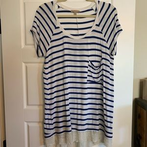 Anthropologie Striped Tee with Lace